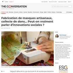 Fabrication demasques artisanaux, collecte dedons… Peut-on vraiment parler d'innovations sociales?