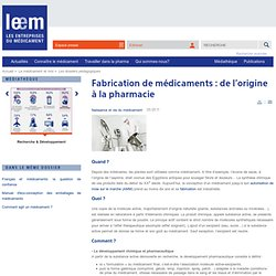 Fabrication de médicaments : de l'origine à la pharmacie