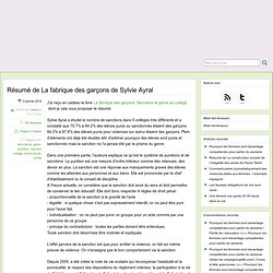 Résumé de La fabrique des garçons de Sylvie Ayral