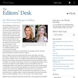 Face Work from Zellweger to Goffman - The Editors' Desk