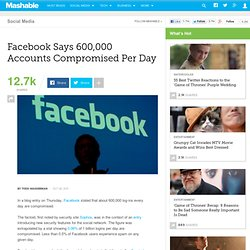 Facebook Says 600,000 Accounts Compromises Per Day