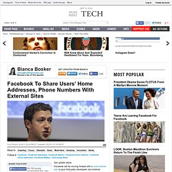 Facebook To Share Users' Home Addresses, Phone Numbers With External Sites