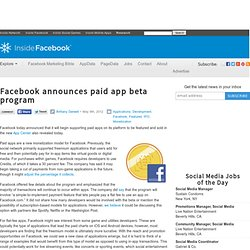 Facebook announces paid app beta program