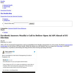 Facebook Answers Mozilla's Call to Deliver Open Ad API Ahead of EU Election
