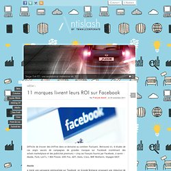 11 marques livrent leurs ROI sur Facebook