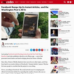 Facebook Expands Instant Articles Program, Includes Washington Post