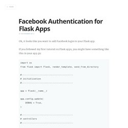 Facebook Authentication for Flask Apps