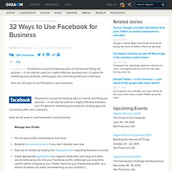 32 Ways to Use Facebook for Business: Online Collaboration «