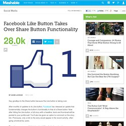 Facebook 'Like' Button Takes Over Share Button Functionality