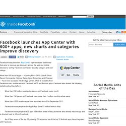 Facebook launches App Center with 600+ apps; new charts and categories improve discovery