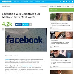 Facebook Will Celebrate 500 Million Users Next Week