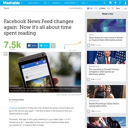 Facebook News Feed changes again: Now it's all about time spent reading
