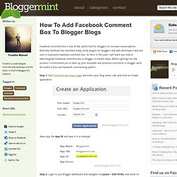 How To Add Facebook Comment Box To Blogger Blogs