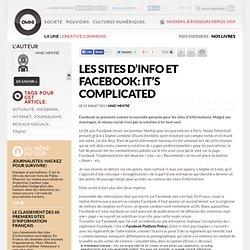 Les sites d'info et Facebook: it's complicated