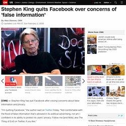 Stephen King quits Facebook over concerns of 'false information'