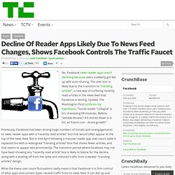 Decline Of Reader Apps Likely Due To News Feed Changes, Shows Facebook Controls The Traffic Faucet