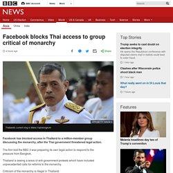 Facebook blocks Thai access to group critical of monarchy