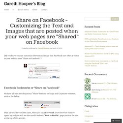 "Customizing the Text and Images that are ""Shared"" on Facebook"
