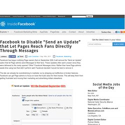 "Facebook to Disable ""Send an Update"" that Let Pages Reach Fans Directly Through Messages"
