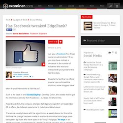 Has Facebook tweaked EdgeRank? - Canada Canada Social Media