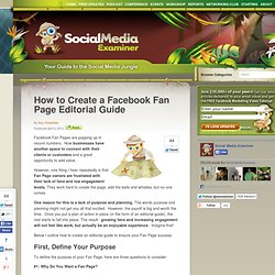 How to Create a Facebook Fan Page Editorial Guide | Social Media