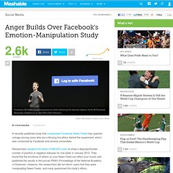 Anger Builds Over Facebook's Emotion-Manipulation Study