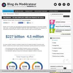Facebook : 78 000 emplois créés en France en 2014