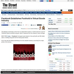 Facebook Establishes Foothold in Virtual Goods Industry