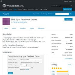 EME Sync Facebook Events – WordPress plugin