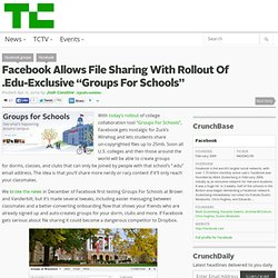 "Facebook Allows File Sharing With Rollout Of .Edu-Exclusive ""Groups For Schools"""