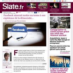 Facebook aimerait mettre un terme à son expérience de la démocratie…