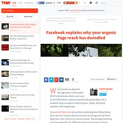 Facebook Explains Why Organic Page Reach has Dwindled