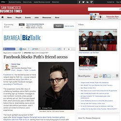 Facebook blocks Path's friend access