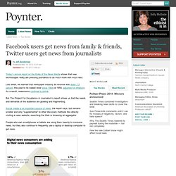 Facebook users get news from family & friends, Twitter users get news from journalists