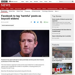 Facebook to tag 'harmful' posts as boycott widens