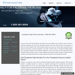 Facebook Help Phone Number 1-877-776-6261