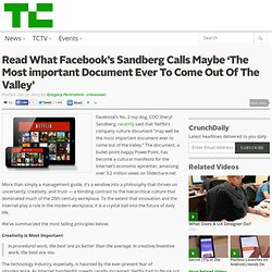 Read What Facebook's Sandberg Calls Maybe 'The Most important Document Ever To Come Out Of The Valley'