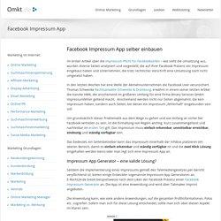 Facebook Impressum App selber einbauen