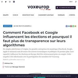 Pourquoi et comment les géants du web influencent les élections (en Europe)