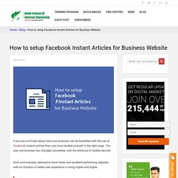 How to setup Facebook Instant article for Business Website