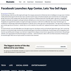Facebook Launches App Center, Lets You Sell Apps