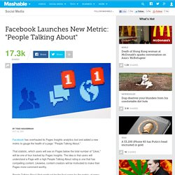 "Facebook Launches New Metric: ""People Talking About"""