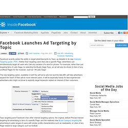 Facebook Launches Ad Targeting by Topic