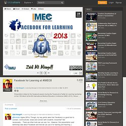 Facebook for Learning at #IMEC8