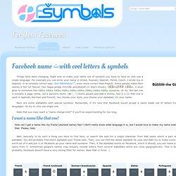Facebook Cool Letters & Symbols