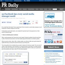 25 Facebook tips every social media manager needs