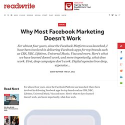 Why Most Facebook Marketing Doesn't Work