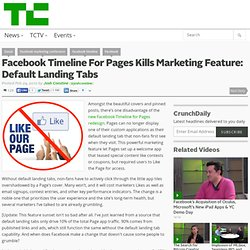 Facebook Timeline For Pages Kills Marketing Feature: Default Landing Tabs