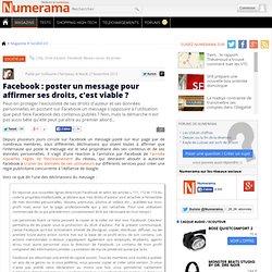 Facebook : poster un message pour affirmer ses droits, c'est viable ?