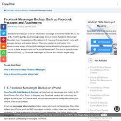 Facebook Messenger Backup: Back up Facebook Messages and Attachments